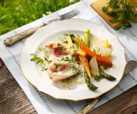 Schleie in Veltliner mit Gemüse