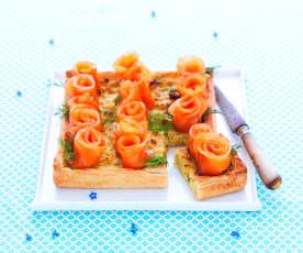 Tarte fondue de poireau-fleurs de saumon