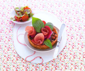 Tartelette mozzarella-fleur de jambon d'Aoste