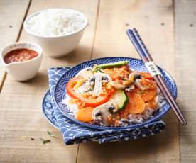 Ryż z warzywami i ananasem