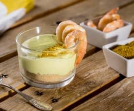 Cheesecake in vasetto al caprino e curry con gamberi