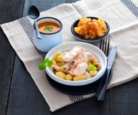 Soupe courge-carotte-cumin, poulet aux gnocchis et champignons et crumble aux pommes