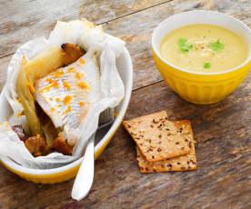 Soupe panais-poireau, poisson en papillote aux endives et châtaignes à l'orange