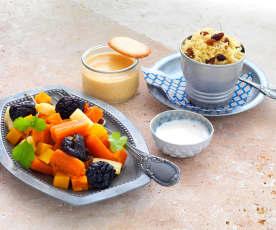 Tajine de légumes, crème dessert à la confiture de lait