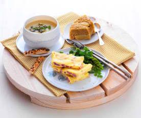 Velouté pomme-céleri, omelette aux lardons et gâteau moelleux aux pommes