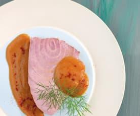 Tranci di tonno in crema alla cipolla