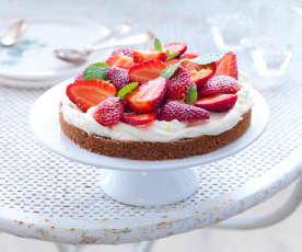 Tarte sans cuisson aux fraises et speculoos