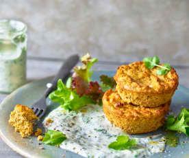 Zeleninové muffiny s tofu a koriandrovo-jogurtovou omáčkou