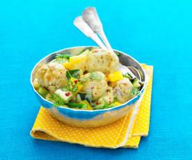 Boulettes de poissons épicées, curry de légumes du soleil