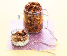 Céréales croustillantes au chocolat et fruits secs