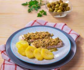 Filetti di merluzzo con battuto di olive verdi