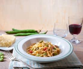 Spaghetti con pecorino e fave