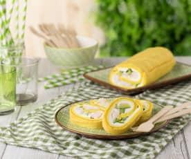 Girelle alla curcuma con zucchine e gamberetti