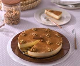 Pastel de queso y crema pastelera a la canela