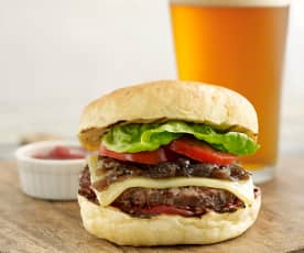 Buffalo Burger with Bourbon Glazed Onions