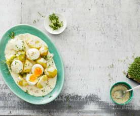 Hořčičná vejce s vařenými bramborami