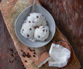 Kokosnoot en chocoladesorbet