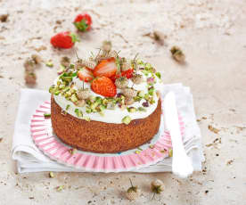 Tarte fraise, chantilly et pistache