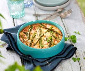 Clafoutis aux asperges vertes, amandes et parmesan