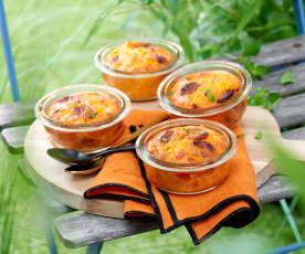 Clafoutis poivron, chorizo et fromage de chèvre