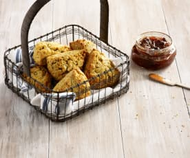 Cheddar and Walnut Scones with Onion Jam