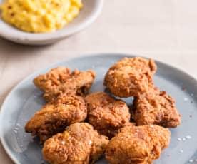 Zuiderse gebakken kip en zoete maïs