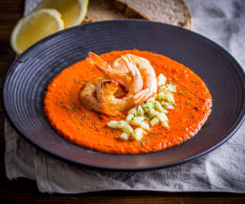 Prawns with Tomato, Saffron and Anchovy Sauce