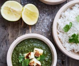 Curry de espinaca y queso fresco