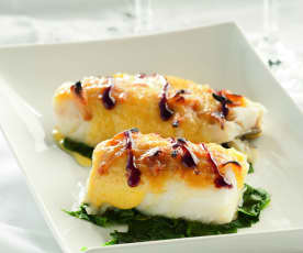 Cod with Garlic Caramel Sauce