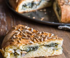 Stuffed Brioche with Pork, Swiss Chard, Fennel and Cheese