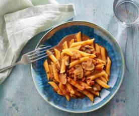 Pasta in tomato sauce with ham and chorizo