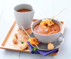 Gazpacho di pomodoro e gamberi