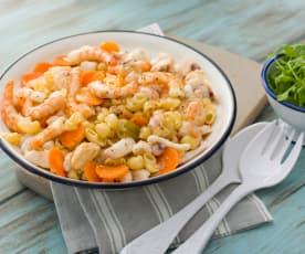 Ensalada de pasta con rúcula y frutos de mar