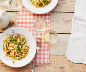 Pasta mit Dicken Bohnen und Garnelen