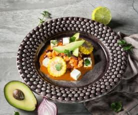 Mexikanischer Hühnertopf mit Maisrädern