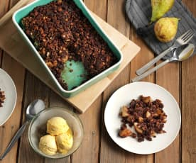 Crumble de pera con chocolate