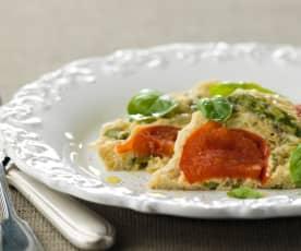 Omeleta de espargos com tomate