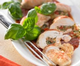 Kip gevuld met groenten en aardappelen