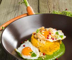 Karottenflan mit Wachtelei auf Spinatsenfsauce