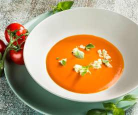 Paradeiser-Rotwein- Suppe mit Mozzarella
