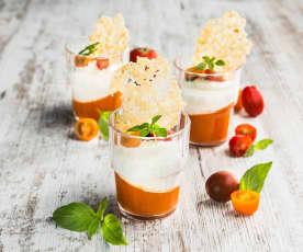 Paradeisergelee mit Fetacreme und Parmesankeks