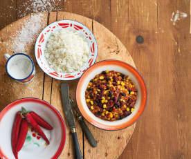 Chili vegetariano de lentilhas e milho