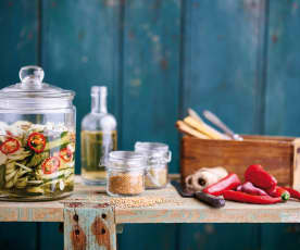 Pickles de pepino picantes