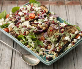 Roasted Aubergine Salad with Tahini Dressing