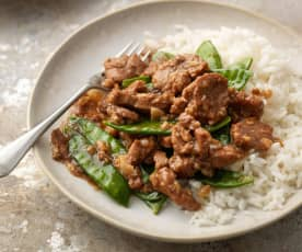 Thai Garlic Pork with Rice and Vegetables