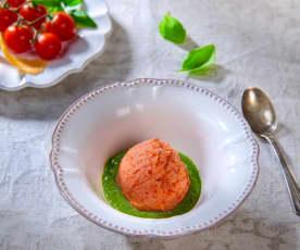 Gelato ai pomodorini con pesto di basilico