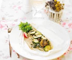 Filetes de peixe com curgete e cogumelos
