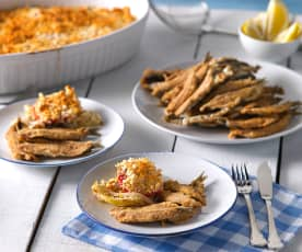 Boquerones fritos con gratén de verduras