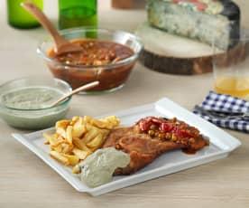 Cachopo asturiano con salsa de cabrales y salsa de carne