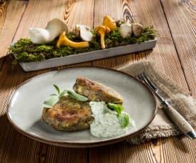 Pressknödel mit Schwammerl und Salsa-Verde-Dip